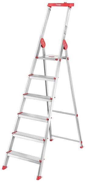 Prestige Pcil 06 Aluminium 6 Steps Ladder ( Silver & Red , Front Step )