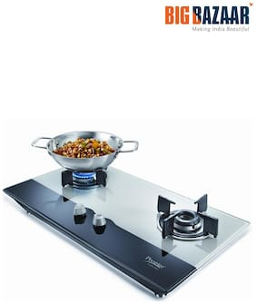Prestige PHT02 2 Burners Stainless Steel Gas Stove - White , Auto Ignition