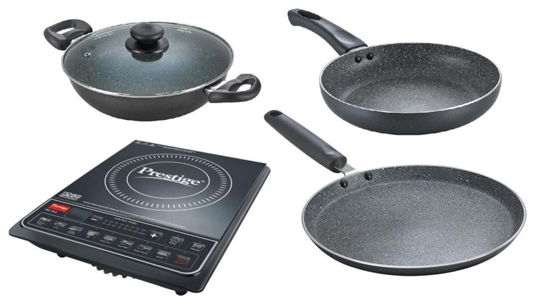 Prestige PIC 16.0+ 1600 W Induction Cooktop (Black) With Granite Cookware Set (3 Piece Set)