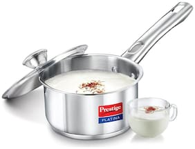 Prestige Platina Induction Base Stainless Steel Sauce Pan, 140mm/1 Litre, Metallic Steel