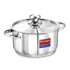 Prestige Platina Induction Base Stainless Steel Casserole, 180mm/2 Litres, Metallic Steel
