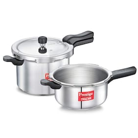 Prestige Svachh 5 L & 3 L;Pressure Cooker Combo;with Deep Lid for Spillage Control