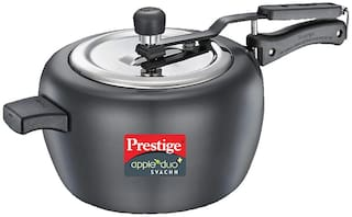 Prestige Svachh Hard-Anodized Aluminium 5 L Induction Bottom Inner Lid Pressure Cooker - Set of 1 , ISI Certified