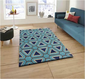 Presto Abstract Carpet Blue;Brown and White