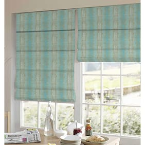 Presto Blue And White Abstract Jacquard Window Blind