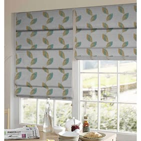 Presto Blue And Gold Floral Tissue Embroidered Window Blind