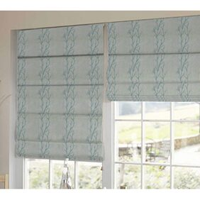 Presto Blue And White Floral Tissue Embroidered Window Blind