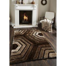 Presto Brown Polyester Geometrical Carpets