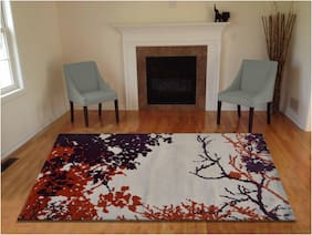 Presto Floral Polyester Carpet;Purple;Orange and Beige