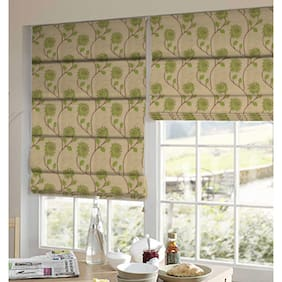 Presto Green And Brown Floral Tissue Embroidered Window Blind