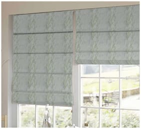 Presto Green And White Floral Tissue Embroidered Window Blind
