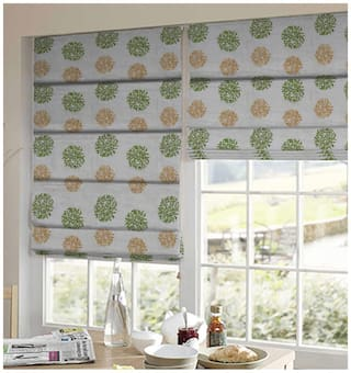 Presto Green And Gold Floral Tissue Embroidered Window Blind