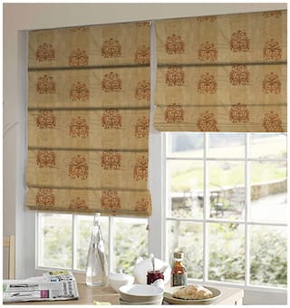 Presto Orange And Gold Abstract Tissue Embroidered Window Blind