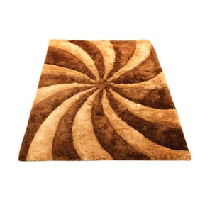 PRESTO Polyester Brown And Beige Abstract Shaggy Carpet