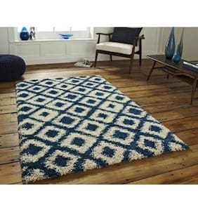 PRESTO Polyester Blue And White Abstract Shaggy Carpet