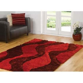 PRESTO Polyester Red And Maroon Abstract Shaggy Carpet
