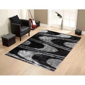 PRESTO Polyester Black And Grey Abstract Shaggy Carpet