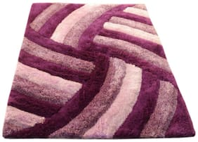 PRESTO Polyester Purple And Pink Abstract Shaggy Carpet