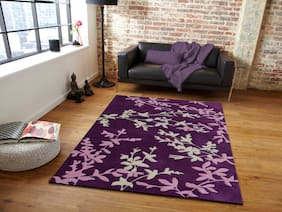 Presto Purple;Pink and Ivory Floral Hand Tufted Wool Area Rug