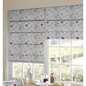 Presto Red And Beige Floral Tissue Embroidered Window Blind