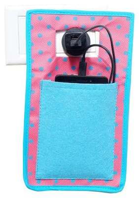 Pretty Krafts Non Woven + Felt Mobile Holder with Travel Assist Stand Carrying Bag for Use During Charging Cellphones (Blue, 28X16X1)