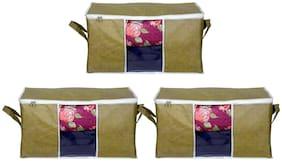 Prettykrafts Set of 3 Underbed Storage Bag, Storage Organizer, Blanket Cover with Side Handles - Green