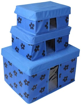 PrettyKrafts Storage Combo Pack of 3, Blue/Organizer/Storage Box/Toys Storage Box/Books Storage Box - Blue