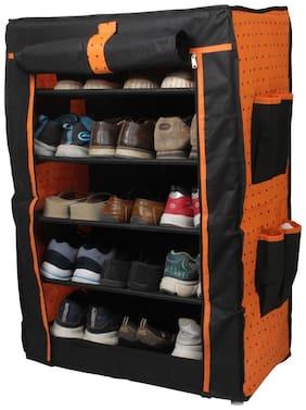 PrettyKrafts 6 Tier Portable Shoe Rack - Footwear Organizer Stand - Shoe Holder - Multipurpose Rack - Orange