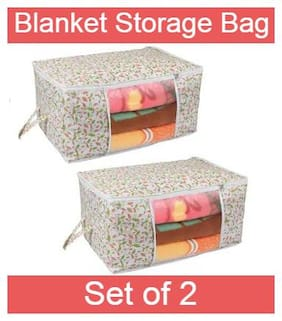 Prettykrafts Underbed Storage Bag, Storage Organizer, Blanket Cover with Side Handles (Set of 2 pcs) - Multicolour