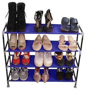 PrettyKrafts Multipurpose Portable Folding Shoes Rack 4 Tiers Multi-Purpose Shoe Storage Organizer Cabinet Tower with Iron and Nonwoven Fabric Blue