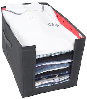 PrettyKrafts Non Woven Shirt Stacker Organizer (Red;Black)