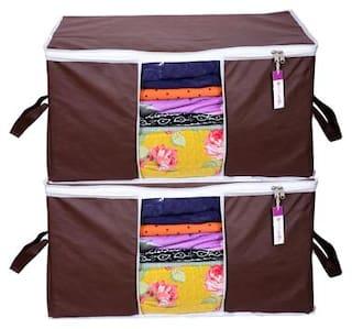 Prettykrafts Underbed Storage Bag, Storage Organizer, Blanket Cover with Side Handles (Set of 2 pcs) - Brown