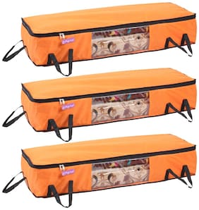 Prettykrafts Long Underbed Storage Bag, Storage Organizer, Blanket Cover with Side Handles (Set of 3 pcs) - Orange