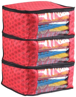 PrettyKrafts Saree Cover  Prints Big Size/Wardrobe Organiser/Cloth Cover Red Set Of 3