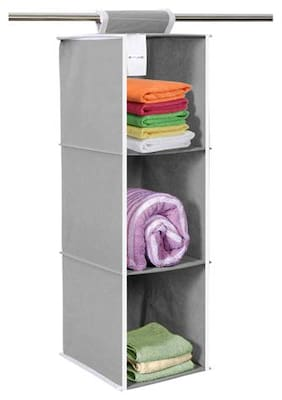 PrettyKrafts Hanging 3 Shelves Wardrobe Organiser - Grey