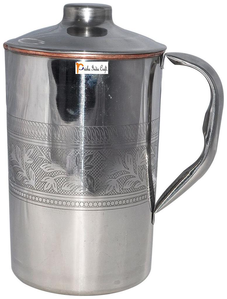 Prisha India Craft Copper Jug Water Pitcher Outside Stainless Steel Utensils Capacity 1.6 L by Prisha India Craft