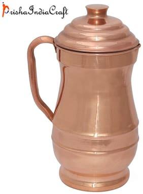 Prisha India Craft Pure Copper Jug Water Pitcher with Lid Indian Copper  Capacity 1.9 L