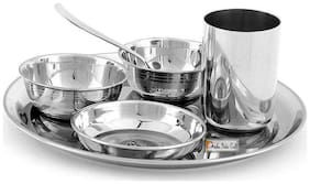 Prisha India Craft Stainless Steel 6 Pieces Thali Set |1 Thali  2 Bowl  1 Pudding Plate/ Halwa Plate  1 Glass  1 Spoon
