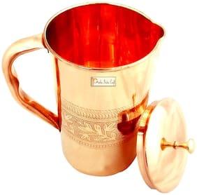 Prisha India Craft Pure Copper Jug Water Pitcher with Lid  Capacity 1.6 L