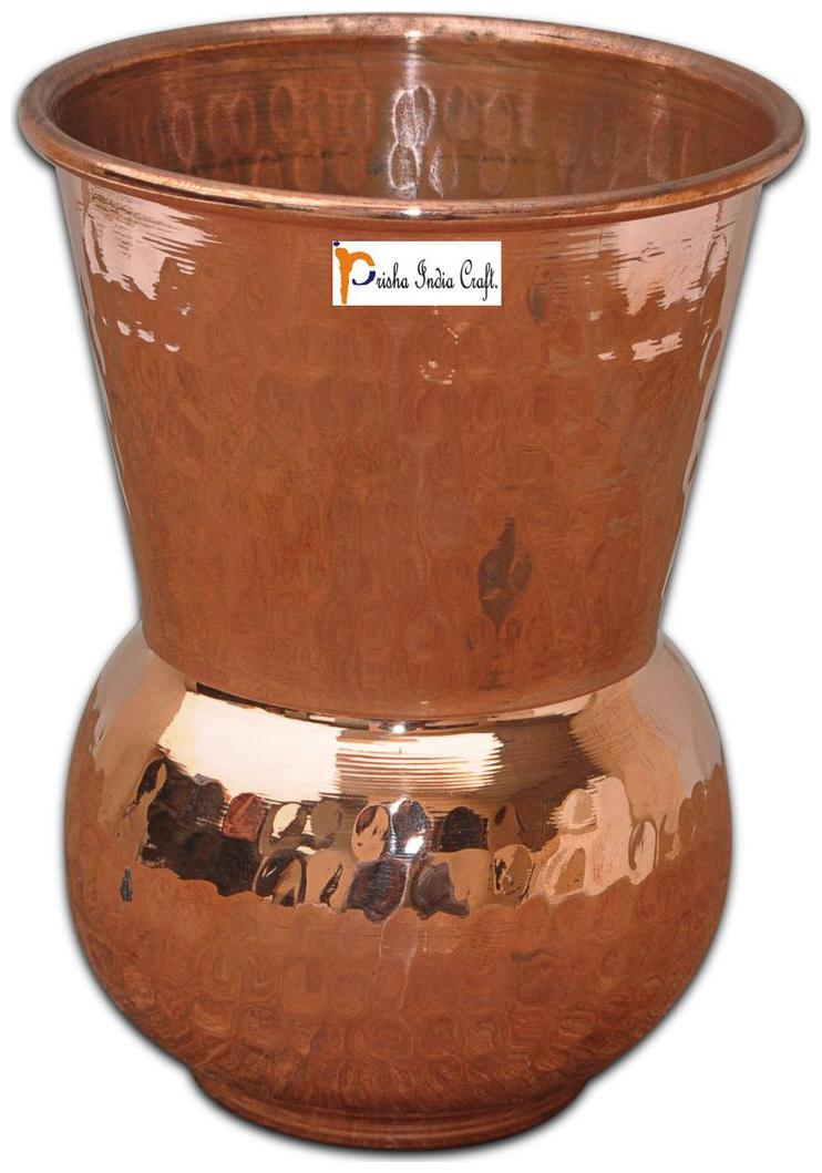 Prisha India Craft Copper Muglai Matka Glass Hammered Style Drinkware Tumbler Handmade Copper Cup for Ayurveda Benefits by Prisha India Craft