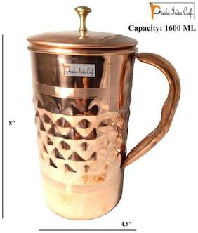 Prisha India Craft Pure Copper Jug New Improved Design Diamond Cut Jug Capacity 1600 ml