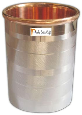 Prisha India Craft Pure Copper Glass Cup for Water Handmade Water Glasses