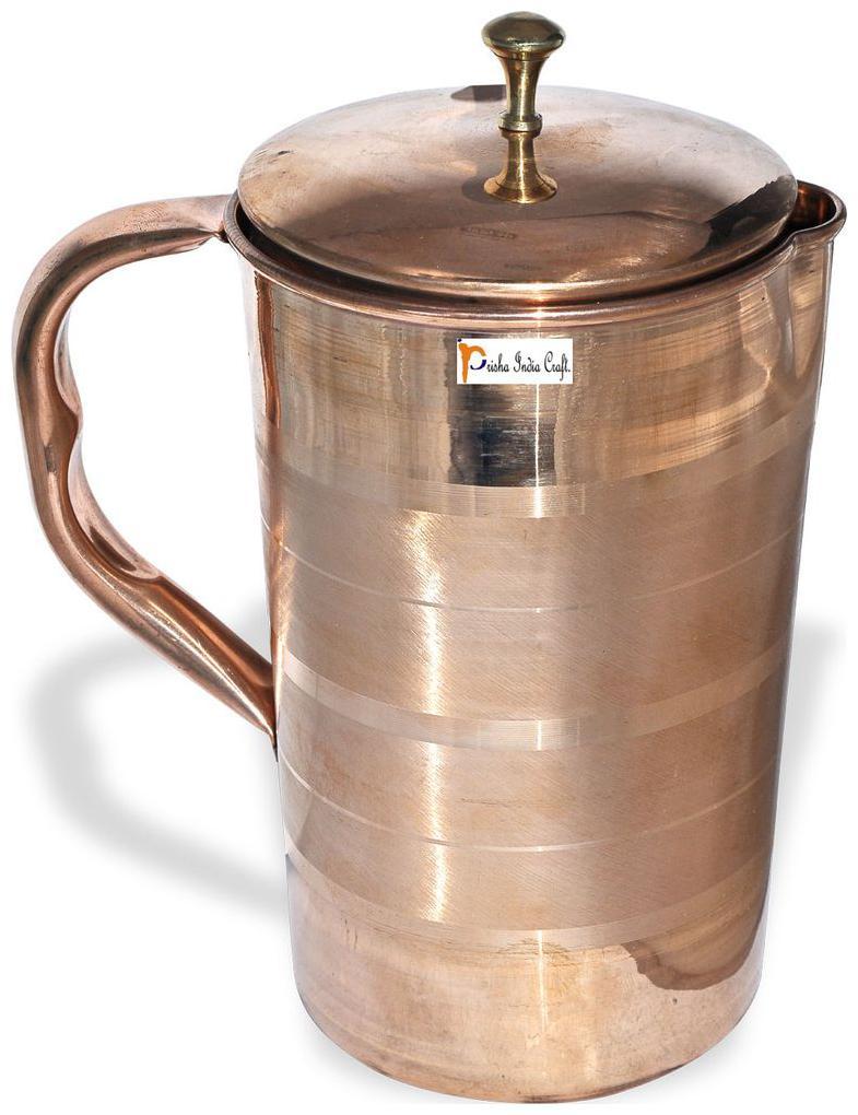 Prisha India Craft Pure Copper Water Jug Drinkware Tableware Pitcher Capacity 1.6 L by Prisha India Craft