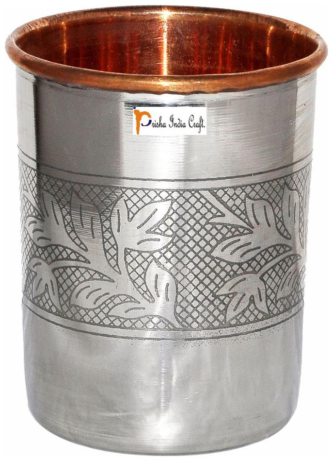 Prisha India Craft Handmade Water Glass Copper Tumbler by Prisha India Craft