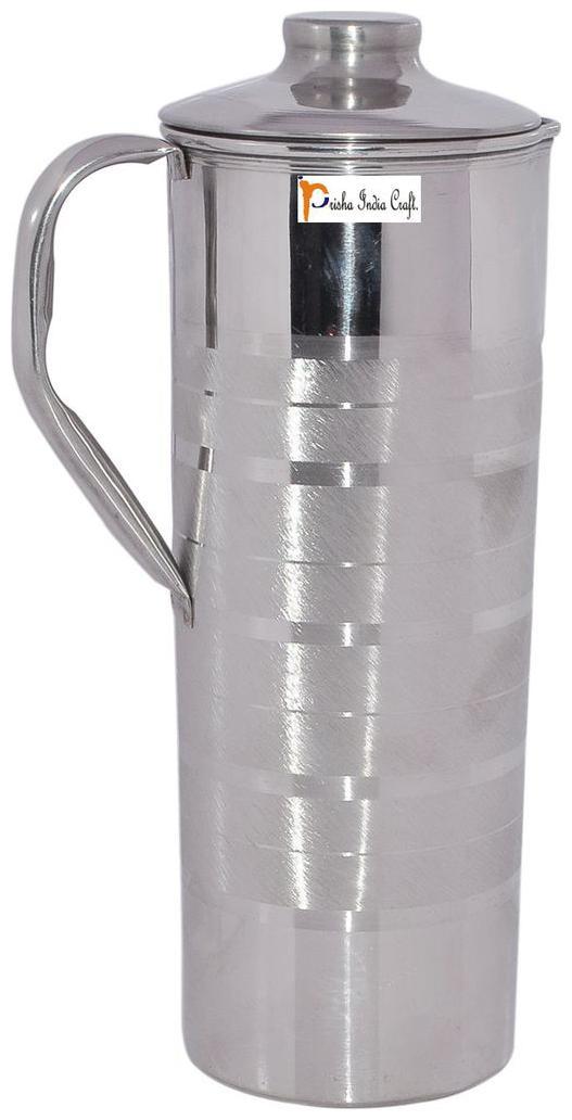 Prisha India Craft Pure Handmade Stainless Steel Jug with Lid Capacity 0.9 L by Prisha India Craft