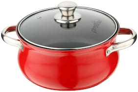 Pristine Aluminium Induction Base Non Stick Belly Casserole with Glass Lid;2.5Ltrs