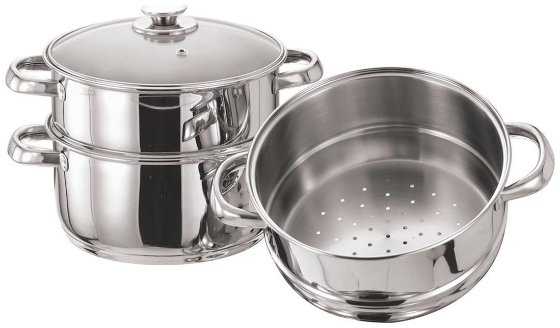 PRISTINE Induction Base SS 3 Tier Multi Purpose Steamer with Glass Lid, 18cm by Sohil Impex