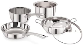 Pristine Induction Compatible Stainless Steel Every Day Cooking Set With Glass Lid