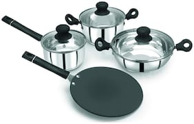 Pristine Induction Compatible Stainless Steel Combo Cookware Set With Bakelite Handle