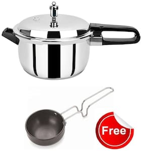Pristine Induction Base Stainless Steel Pressure Cooker (5 Ltr) with Tadka Pan 280 ml Free
